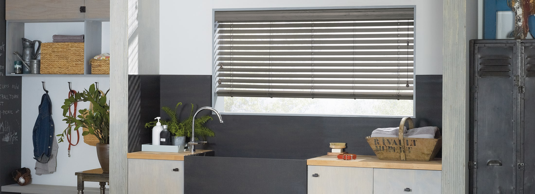 Alternative wood blinds in Renditions Alternative Wood Wet Pavement - EverWood