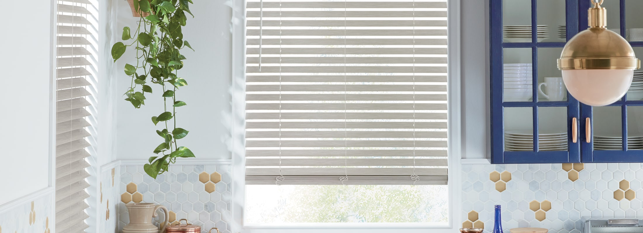 Alternative wood blinds in TruGrain Faux Wood Abalone - EverWood