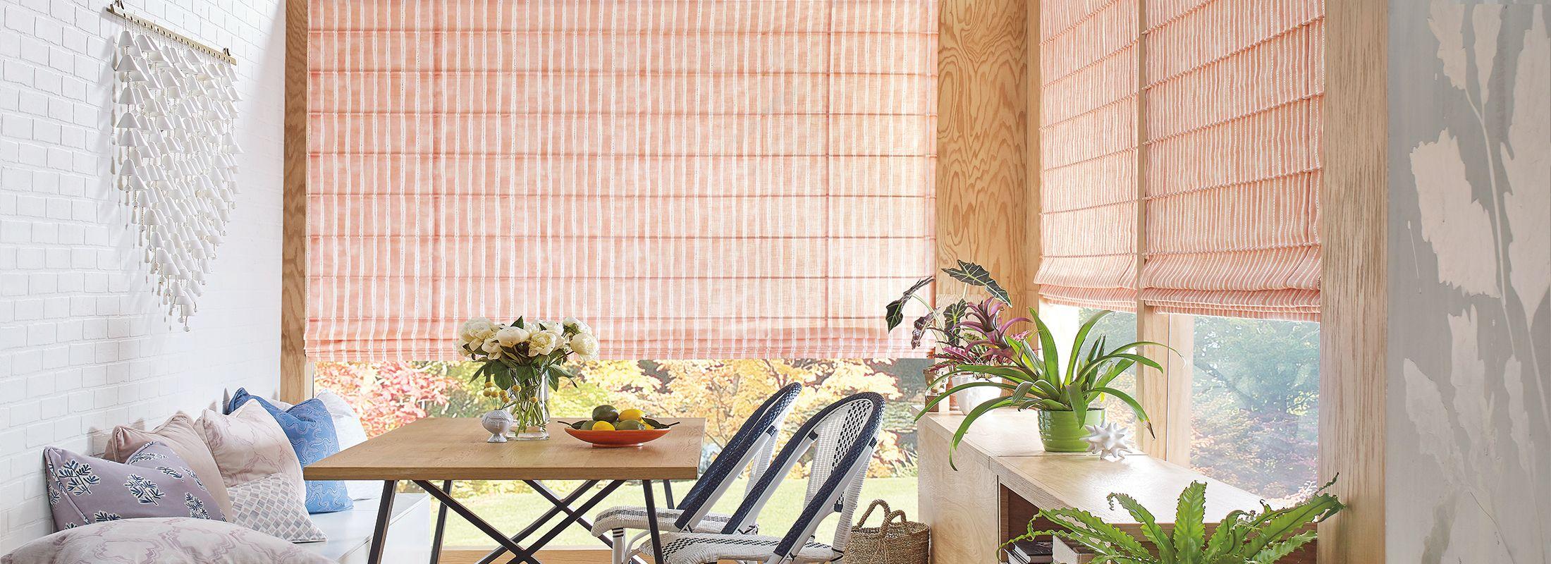 Design Studio Roman Shades in Dotted Stripe Peach
