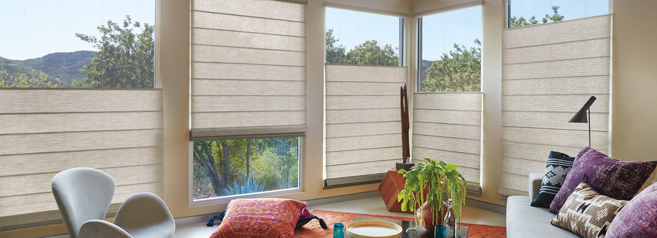 Light filtering fabrics in Primitive Concrete - Alustra Woven Textures