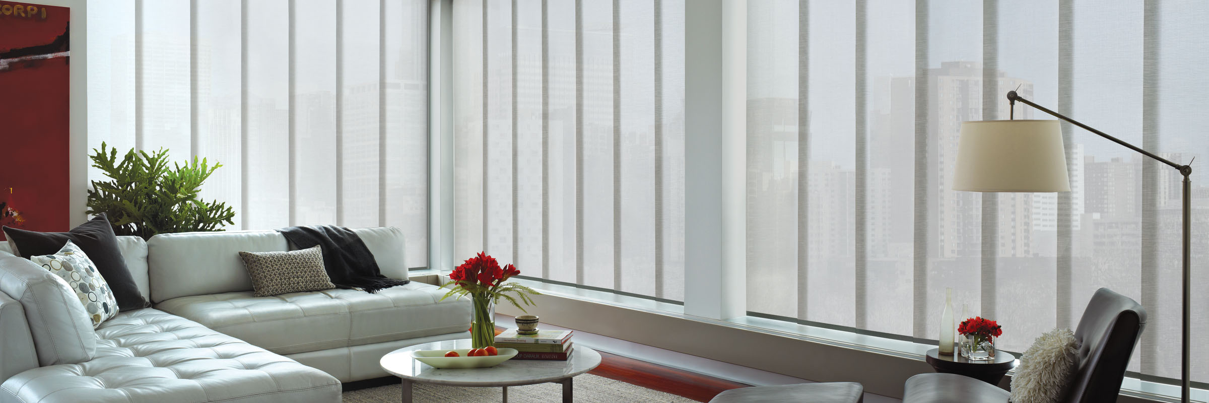 Panel track blinds in Empire Fence Post – Skyline