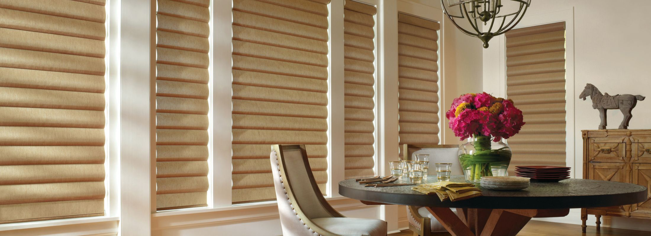 Window shadings in Alustra Charmeuse Bronzed Gold - Pirouette