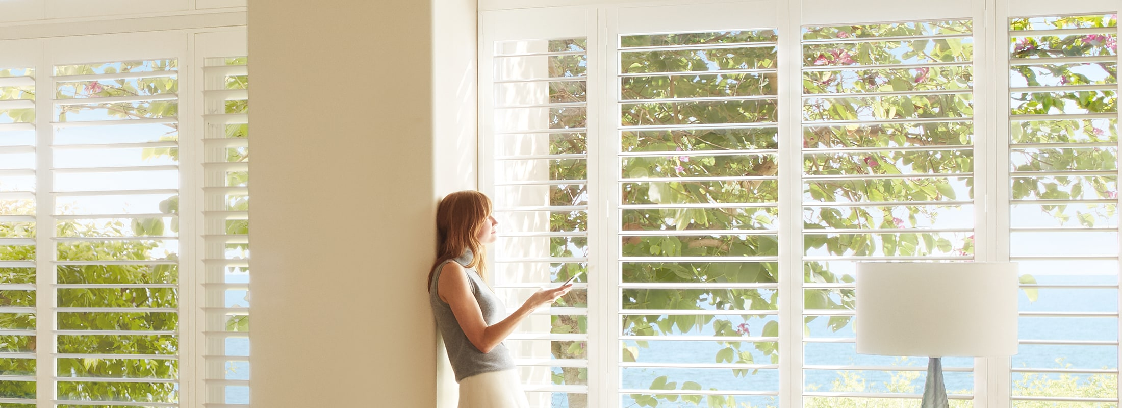 Polysatin shutters in Shutters Bright White - Palm Beach