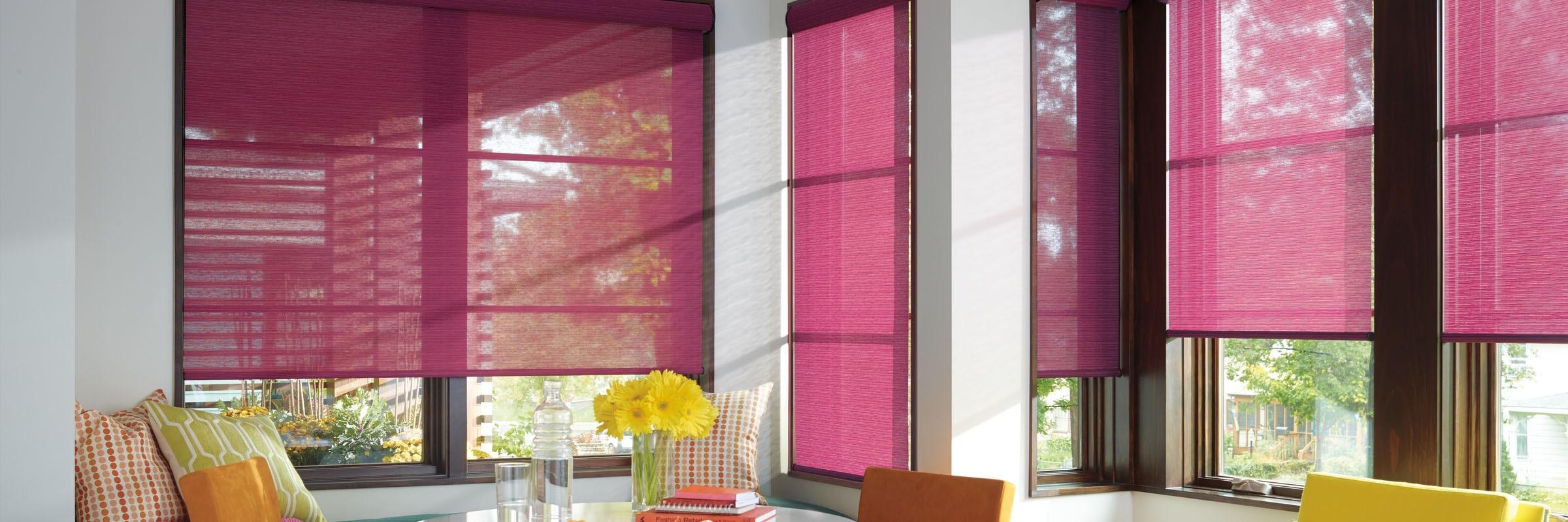 Roller curtains in Alexander Fuschia - Designer Roller Shades